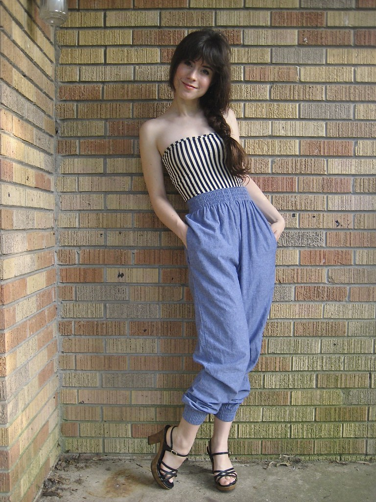 american apparel head to toe. striped bodysuit, chambray harem pants