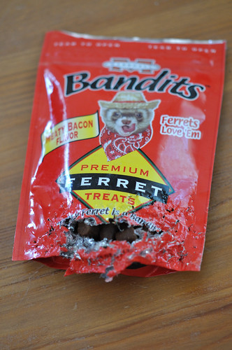 Mangled remains of Bandit treat bag