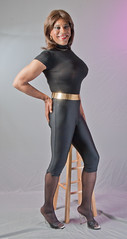 Bodysuit, Capri Pants & Mules (kaceycd) Tags: capri shiny highheels pants tgirl transvestite tight bodysuit mules pantyhose crossdress spandex lycra tg capripants