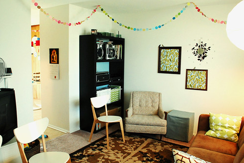 Paper garlands in the living room.