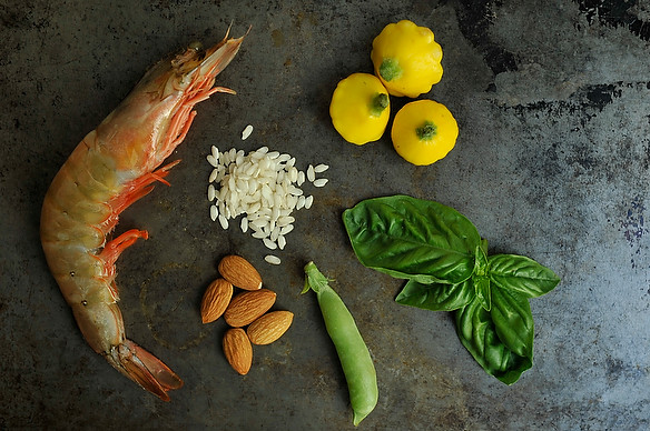 Shrimp and Sugar Snap Peas Risotto with an Almond-Basil Pesto