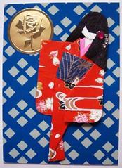 ATC349 - Yui (tengds) Tags: blue red atc gold sticker kimono obi papercraft japanesepaper washi ningyo japanesepattern handmadedoll handmadecard chiyogami yuzenwashi japanesepaperdoll washidoll origamidoll tengds nailjewelsticker japanesepatternprint