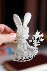 Paper Fur (Elsita (Elsa Mora)) Tags: sculpture white plant flower color cute bunny bird art nature girl silhouette paper design blog hand decorative ivory craft holes clean blogged etsy simple elsa papercut mora pocked elsita