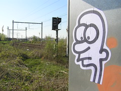 Stuff (freaQ) Tags: urban streetart train poster happy sticker stickerart character paste stickers cartoon vinyl tracks adhesive printed spoor handdrawn combo tracksides stickercombo nmbs straatkunst stickerpack freaq stickertrade