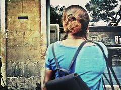 Indian chignon (ale2000) Tags: street camera blue people urban woman reflection muro window stone wall geotagged florence donna back strada gente blu crossprocess candid tourist photowalk firenze urbanjungle vetrina azzurro riflessi passerby 3gs iphone chignon dispalle cronacheurbane iphone365 photoforge geo:lat=43776303 geo:lon=11249624