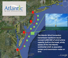 Google map of Atlantic Wind Connection