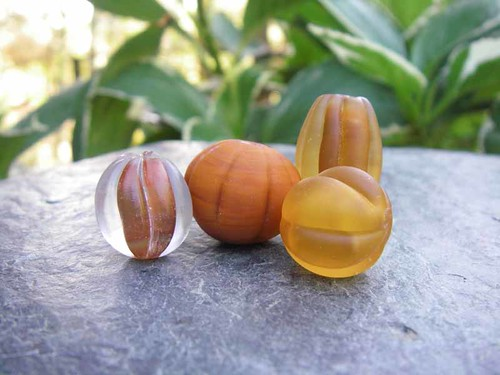 Set of 4 coordinating fall-inspired beads
