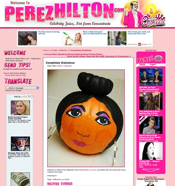 My Snooki pumpkin featured on Perez Hilton
