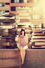 Books. (Yagoda.) Tags: portrait people woman girl face book spain books canon5d russian gerona beautifulgirl russiangirl canon2470mm28 canoneos5dmarkii irinafedinaphotography