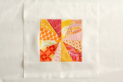 3x6 Mini Bee Block (Jeni Baker) Tags: pink november orange yellow apartment sewing mini bee ii virtual quilting blocks block 2010 3x6 liberated quiltmaking