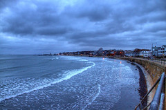 Swampscott at Dusk HDR (Mr.TinDC) Tags: beach water boston clouds ma grey coast waterfront cloudy dusk massachusetts shoreline newengland overcast stormy seawall hdr highdynamicrange swampscott hightide kingsbeach bulkhead photomatix