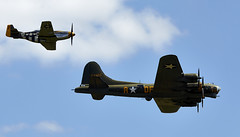 B17 & Mustang Formation (Bernie Condon) Tags: mustang northamerican usaaf military us warplane vintage preserved classic fighter ww2 p51 aircraft plane flying aviation shuttleworth oldwarden airshow display boeing b17 flyingfortress bomber