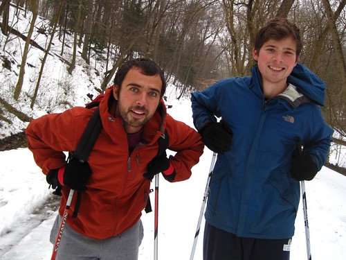 "I HAVEN'T SEEN PEOPLE OUT HERE ON CROSS COUNTRY SKIS. DO YOU GET OUT HERE MUCH ON THEM? Andrew Jacobs (left): ""This is my first time."" Steven Jacobs: "" This is actually our first time. I just got a pair for Christmas so I decided to come out with my bro-"