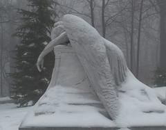 (Fransois) Tags: trees winter mist snow cemetery fog angel montréal hiver ange arbres neige sorrow brouillard tristesse cimetière enneigé