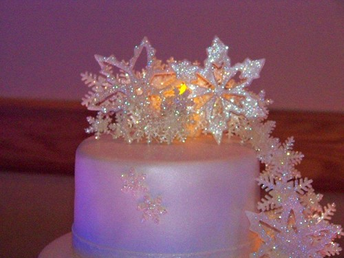 snowflake wedding cake close up