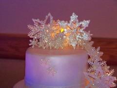 snowflake wedding cake close up (cdgleason) Tags: winter white snow cake glitter lace weddingcake flakes gumpaste