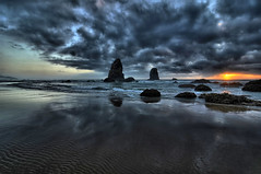Cannon Beach, Cloudy Sunset, Oregon Coast (Don Briggs) Tags: ocean sunset sand rocks pacificocean rockstacks donbriggs cannonbeachoregoncoast nikond5000 1224tokinalens 3xexposurehdr