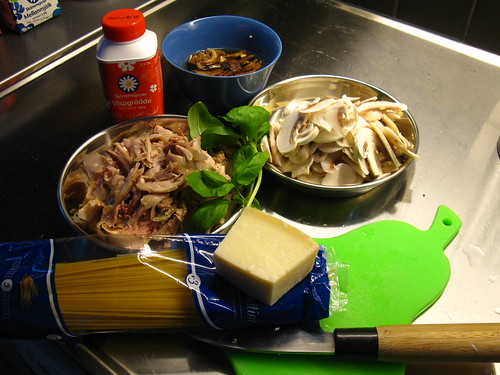 Ingredients for Spaghetti Tetrazzini