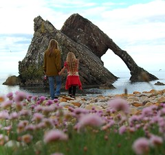 bow fiddle rock moray coast scotland (plot19) Tags: uk flowers sea woman girl rock coast scotland nikon britain moray peddles moraycoast bowfiddlerock plot19 scotland09etc familygetty2010