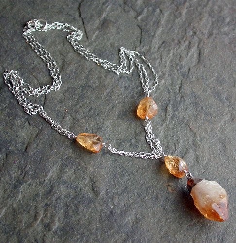 Citrine necklace, before antique-ing