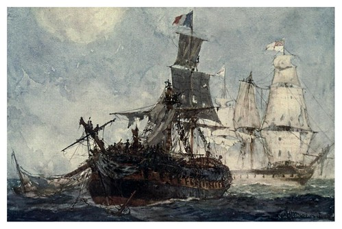 005-Accion entre el HMS Phoenix y la fragata francesa Didon el 10 de Agosto de 1805-The Royal Navy (1907)- Norman L. Wilkinson