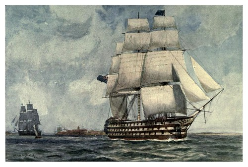 007-El acorazado HM Queen 1839-The Royal Navy (1907)- Norman L. Wilkinson