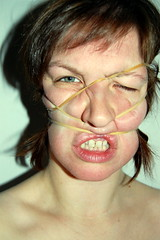 02/52 (Katrina Katrish) Tags: portrait distortion face self distorted bare band rubber ugly scar 52 elastic thyroid