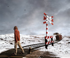 winter trip (Mattijn) Tags: trip winter red horse snow track crossing surreal photomontage cart pino mattijn magicrealism
