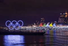 Vancouver's Olympic Rings January 2010 (Clayton Perry Photoworks) Tags: city sky color colour sign skyline night vancouver lights britishcolumbia explore rings signage olympic olympics canadaplace coalharbour 2010 wintergames vancouver2010 vancouverolympics olympicrings olympiccity olympicwintergames van2010 vancouverwinterolympics olympicswintergames claytonperry vancouverwintergames