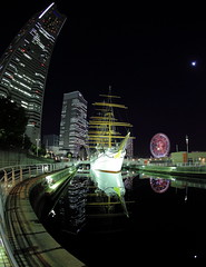 Nippon MaruMemorial Park  ( Spice (^_^)) Tags: travel pink shadow sea urban white black color reflection green art japan night skyscraper dark geotagged photography eos lights photo asia flickr ship colours photographer image picture vivid blogger fisheye livejournal explore collections  yokohama vox minatomirai   mirrorshot  gettyimages sailingship facebook nipponmaru friendster multiply        kanagawaken  twitter  iamge ivid canoneos5dmarkii twitpic