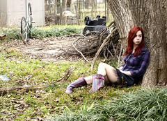 365 Self Portraits: Day 23 - Sad day (FragilePhoto) Tags: selfportrait cold tree girl rain weather bike female outside sitting branches skirt redhead rainy 365 plaid monkeygrass rainboots