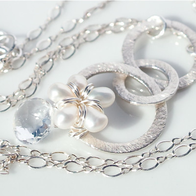 Pearl Flower with Sterling Silver Rings Handmade Necklace