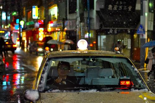La nieve va en taxi