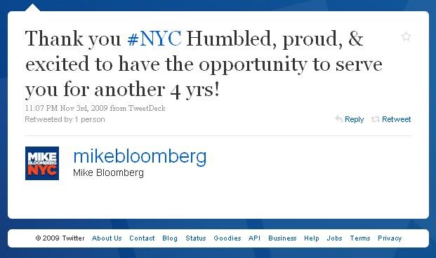 Victory Tweet: @mikebloomberg responds to the win.
