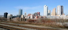 Railroad Skyline (jayayess1190) Tags: city railroad urban water skyline skyscraper river downtown pittsburgh cityscape pennsylvania central tracks transportation ohioriver goldentriangle stationsquare centralbusinessdistrict alleghenyriver monongahelariver alleghenycounty