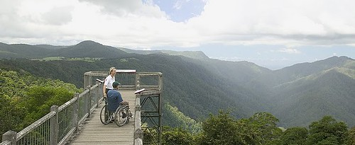 boardwalk lookout over incredible moutain forest view. 2 people on lookout, one in a wheelchair
