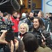 International Media Scrums Olympians Elizabeth Manley and Katarina Witt at BC Robson Square in Vancouver