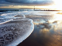 Bournemouth Durley Chine (dawn.v) Tags: sunset sea clouds reflections seaside sand cloudy dorset february groyne bournemouth