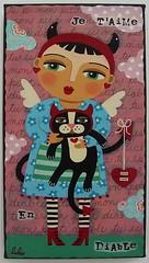 VALENTINE DEVIL ANGEL & CAT - Original 6x12 painting by LuLu (LuLu Mypinkturtle) Tags: original eye art love angel cat painting big ebay day heart lulu folk valentine devil diablo etsy mypinkturtle