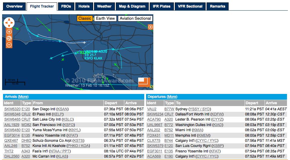 Tracciato voli su Los Angeles