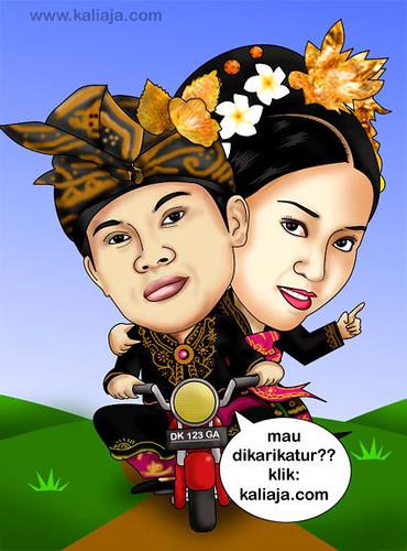 karikatur prewedding bali