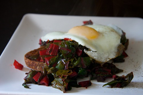 fried egg with red chard on toast