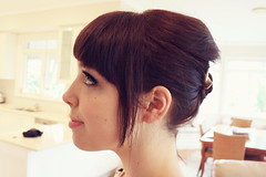 my hair (pearled) Tags: hair profile hairstyles hairbun updo hairbow weddinghair alannahhill weddinghairstyle audreyhepburnhair audreyhepburnupdo
