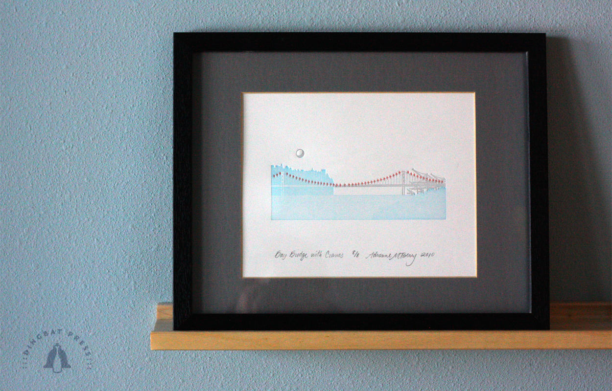 Bay Bridge with Cranes Letterpress 8x10 print