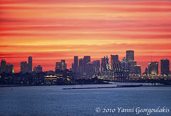 Fisher Island and Downtown Miami Sunset (Yankis) Tags: travel sunset sky colors beautiful buildings island photography nikon downtown photographer florida miami fisher tropical brickell yanni georgoulakis
