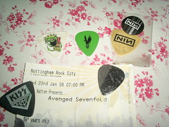 Plectrum collection (Hazel) Tags: inch kiss bass guitar nin nine nails metallica picks plectrum a7x lostprophets avenged sevenfold
