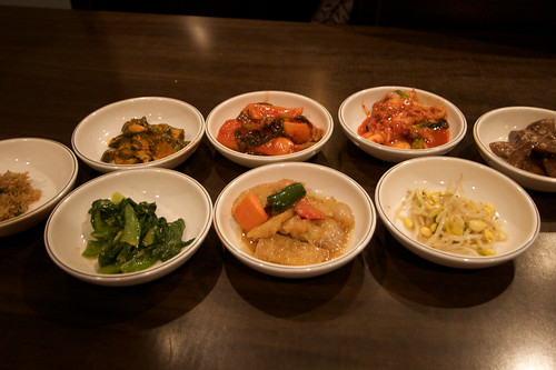 Banchan at Don's Bogam in Koreatown