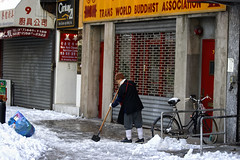 Chip chip chip (ctownjb) Tags: world new york city nyc snow ice les square chinatown 21 manhattan buddhist side broadway monk buddhism nun east chatham gothamist lower trans association shoveling chipping centry