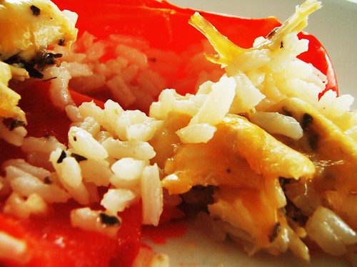 stuffed bell pepper with rice, chicken, and cheese - 38
