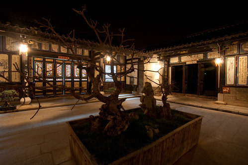 Zhu Garden courtyard at night
